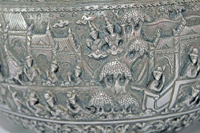 Solid Silver Hand-Worked Burmese Ceremonial Bowl, Jataka Scenes in Relief, Shan  For Sale 2