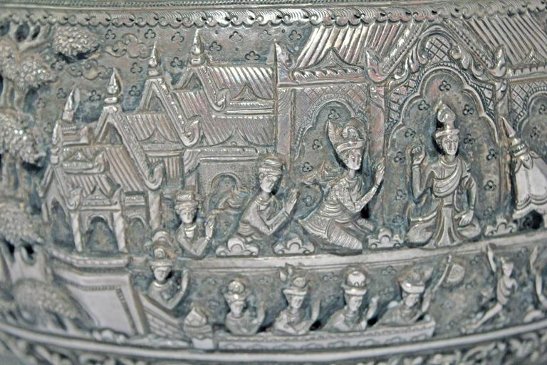 Solid Silver Hand-Worked Burmese Ceremonial Bowl, Jataka Scenes in Relief, Shan  For Sale 3