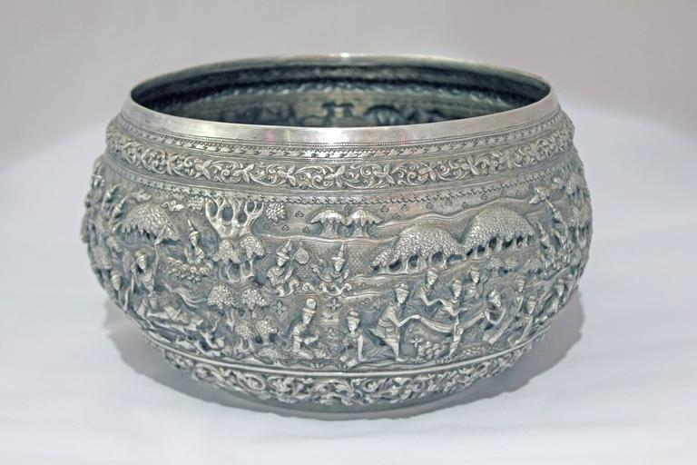 Hand-Crafted Solid Silver Hand-Worked Burmese Ceremonial Bowl, Jataka Scenes in Relief, Shan  For Sale
