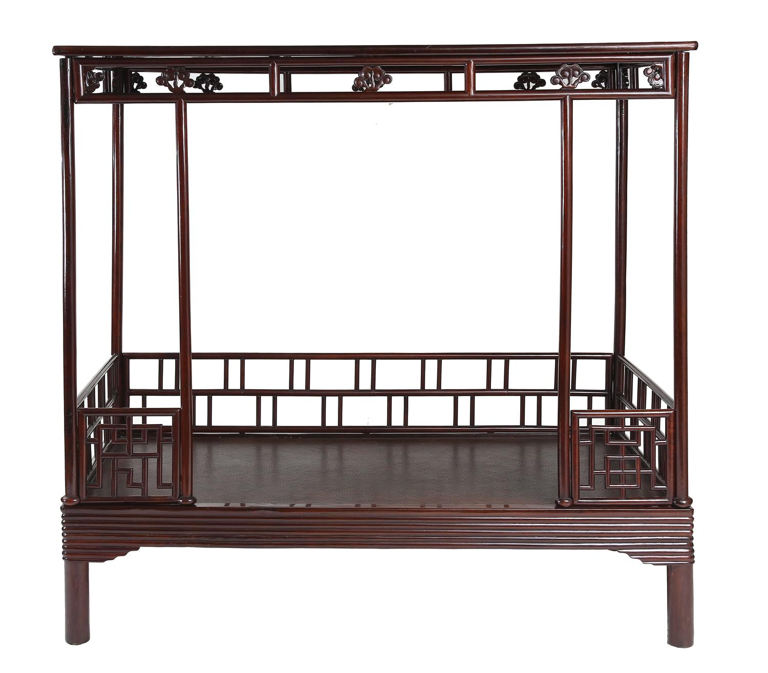 Antique 19th century chinese ju mu six post canopy bed for China furniture bed