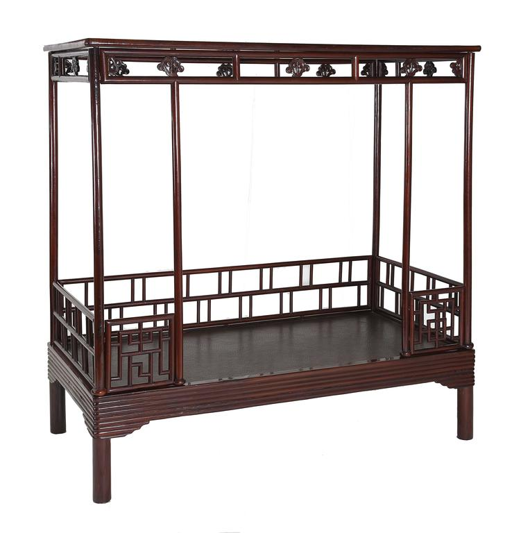 Antique Century Chinese Ju Mu Six Post Canopy Bed Chinoserie