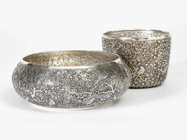 Hand-Crafted Hand-Worked Solid Silver Bowl, Chinoiserie Blossom and Birds Motif, Centrepiece For Sale