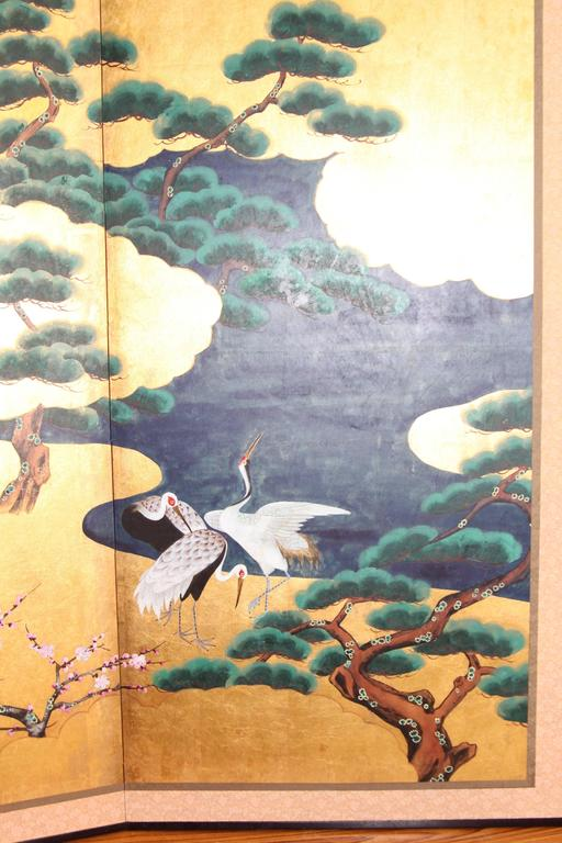 Handpainted Japanese Folding Screen Byobu Cranes By The
