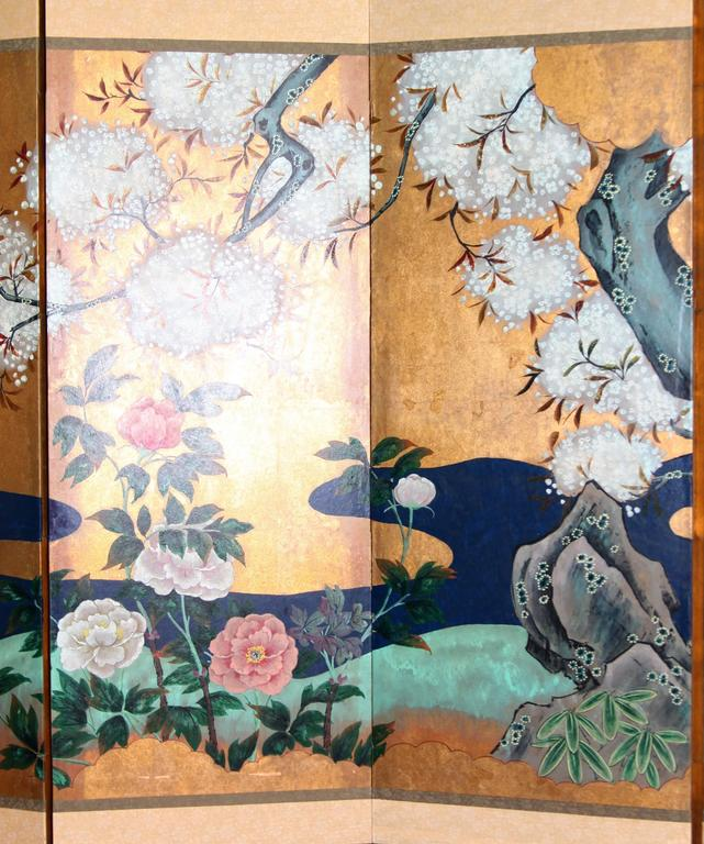 Asian Hand-Painted Japanese Folding Screen Byobu Floral Painting, Watercolor Gold Leaf For Sale