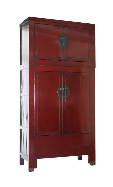 Antique pair of chinese red lacquer compound storage for 5 gorgeous pairs for antique white cabinets