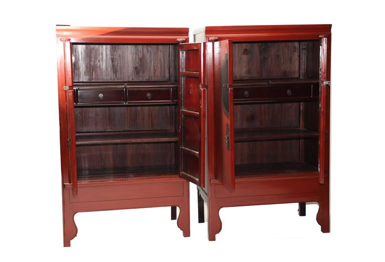 Antique chinese chinoiseri pair red lacquer ju mu wedding for 5 gorgeous pairs for antique white cabinets