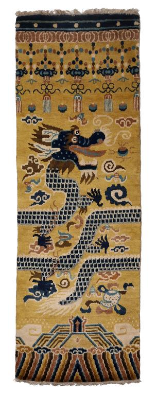 Chinese Hand-Knotted Wool Pair of Ningxia Dragon Temple Pillar Rugs/Carpets, Chinoiserie For Sale