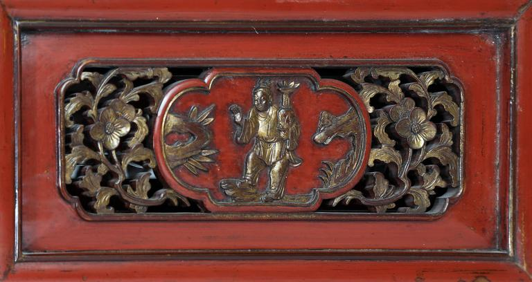 Antique Bed: Antique Red Lacquer Gilt Six-Posted Carved Canopy Wedding