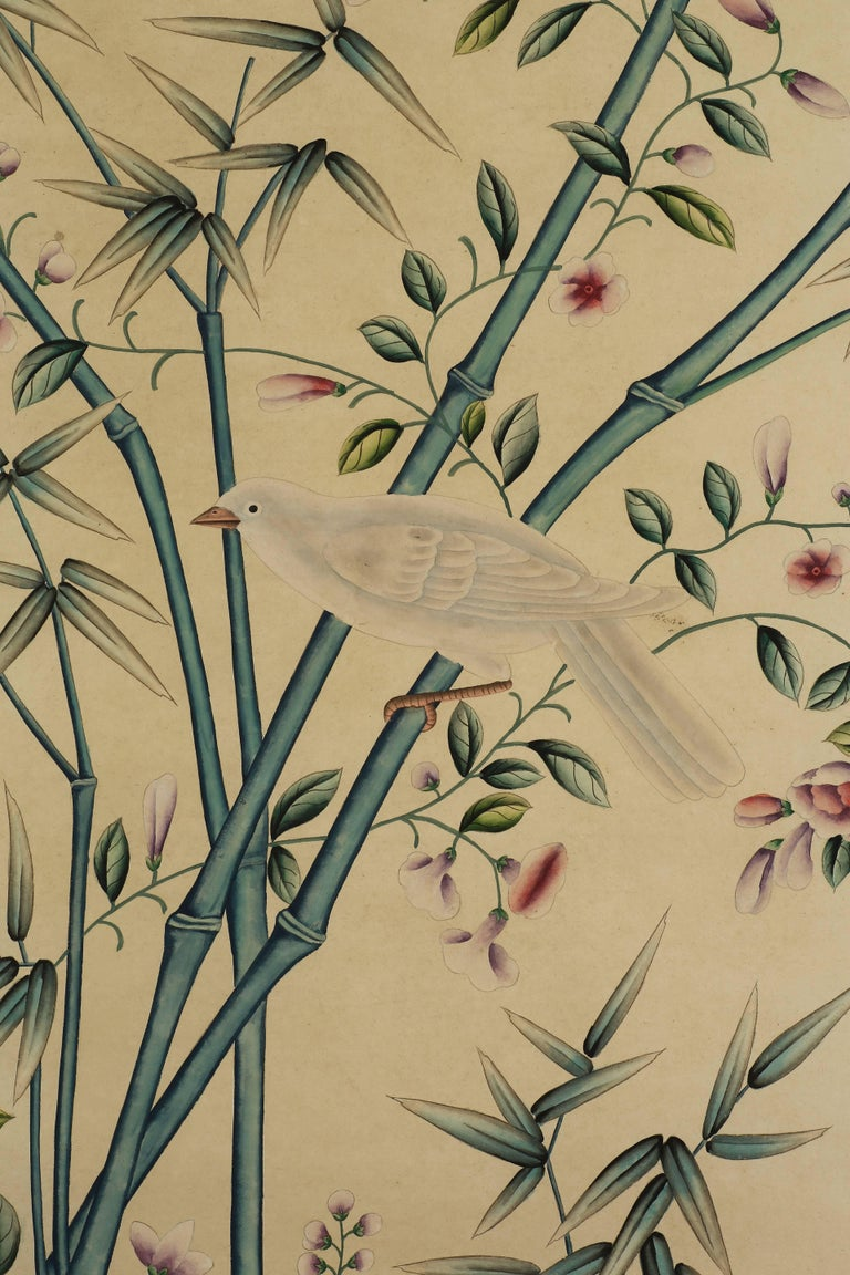 Pair of Hand-Painted Chinoiserie Paintings of Wall Paper Panels ...