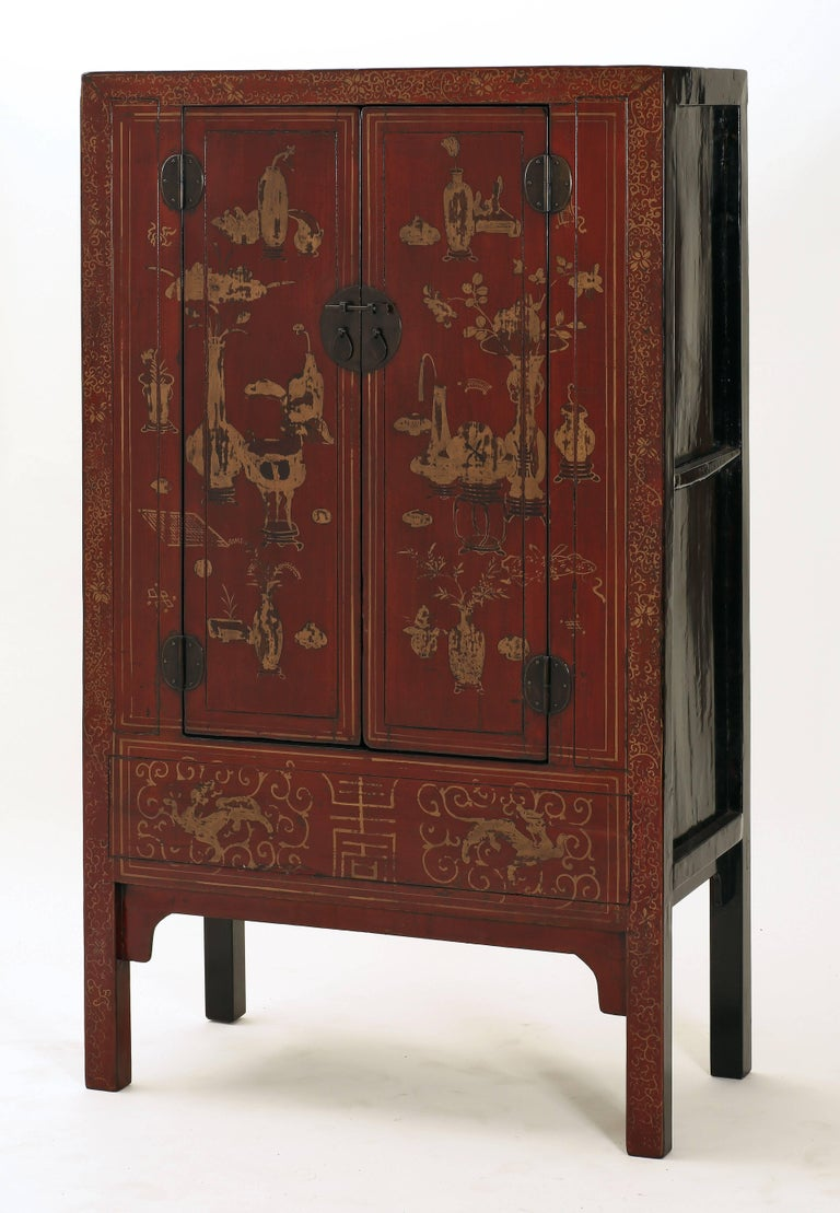 Antique Red Lacquer Gilt Painted Chinese Compound Cabinet