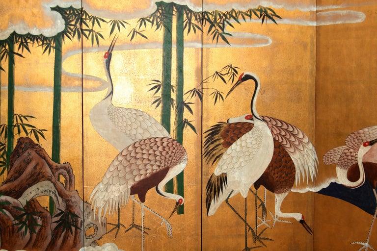 Hand-Painted Japanese Folding Screen Byobu Cranes Painting, Watercolor, Goldleaf 2