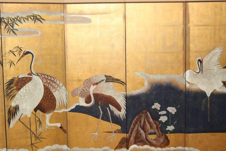 Hand-Painted Japanese Folding Screen Byobu Cranes Painting, Watercolor, Goldleaf 3