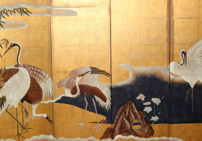 Hand-Painted Japanese Folding Screen Byobu Cranes Painting, Watercolor, Goldleaf 4