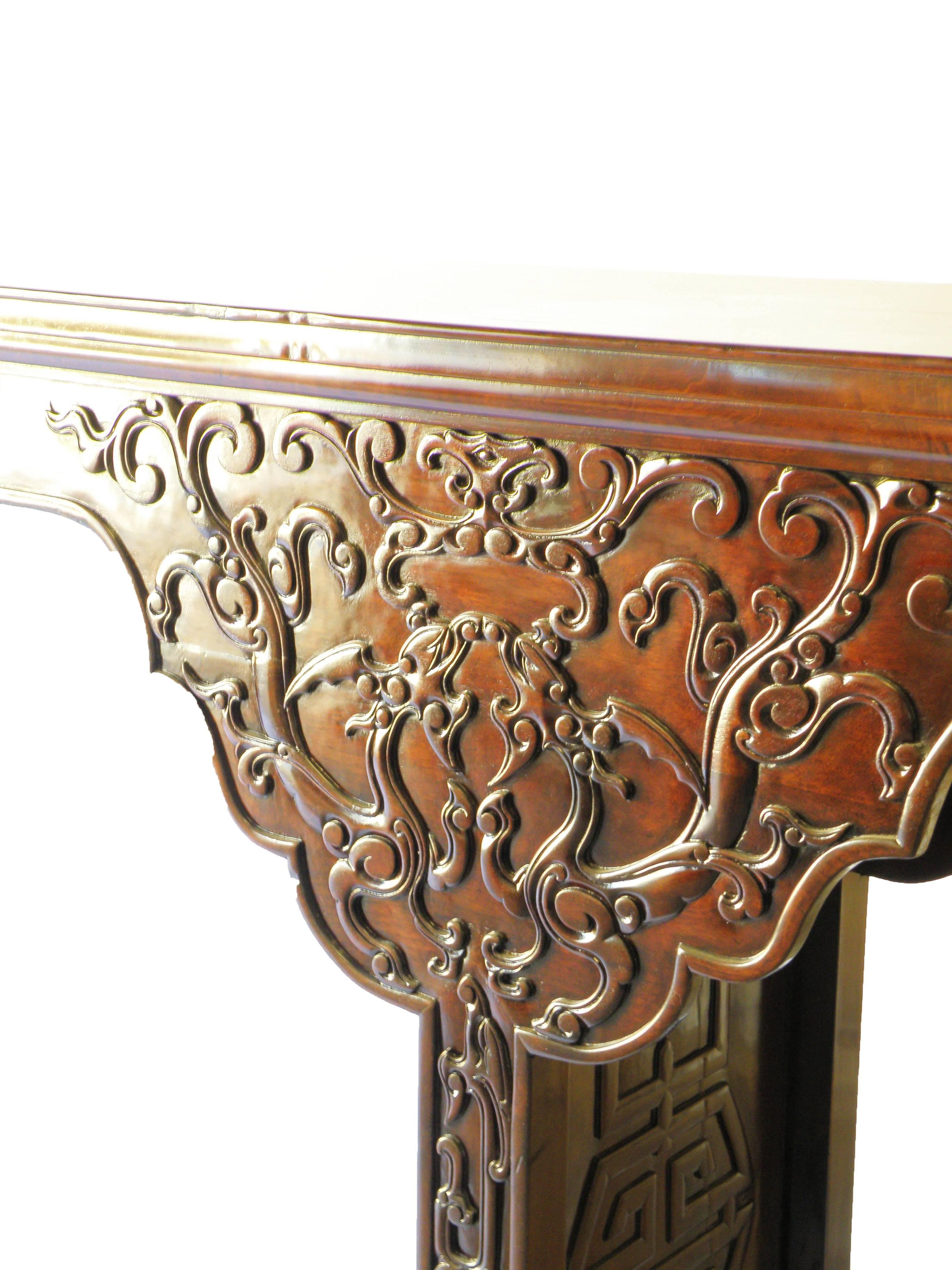 Antique walnut very large chinese altar table dragon relief