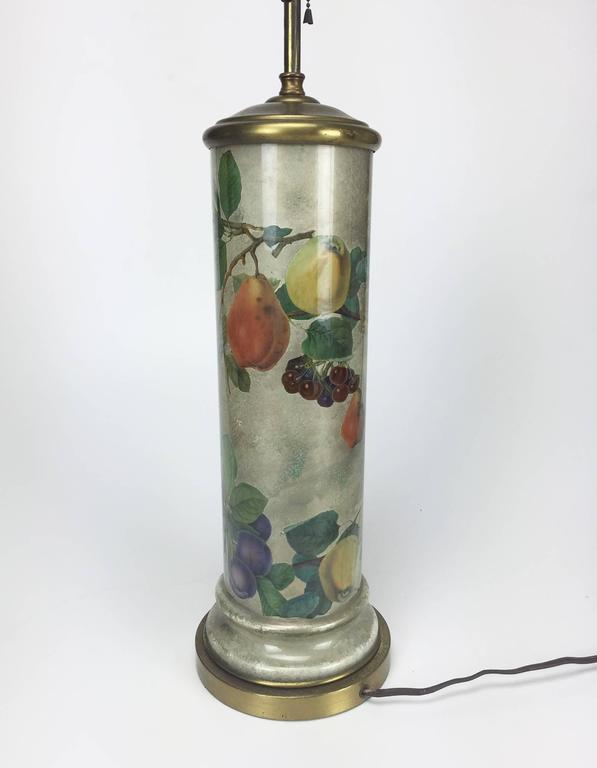 Mid-Century Decoupage Silvered Glass Table Lamp with Fruit Design 3