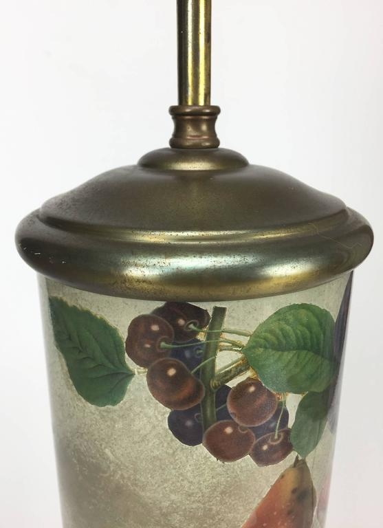 Mid-Century Decoupage Silvered Glass Table Lamp with Fruit Design 5