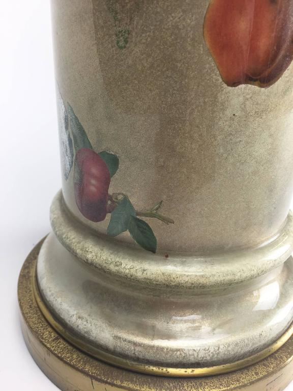 Mid-Century Decoupage Silvered Glass Table Lamp with Fruit Design 7
