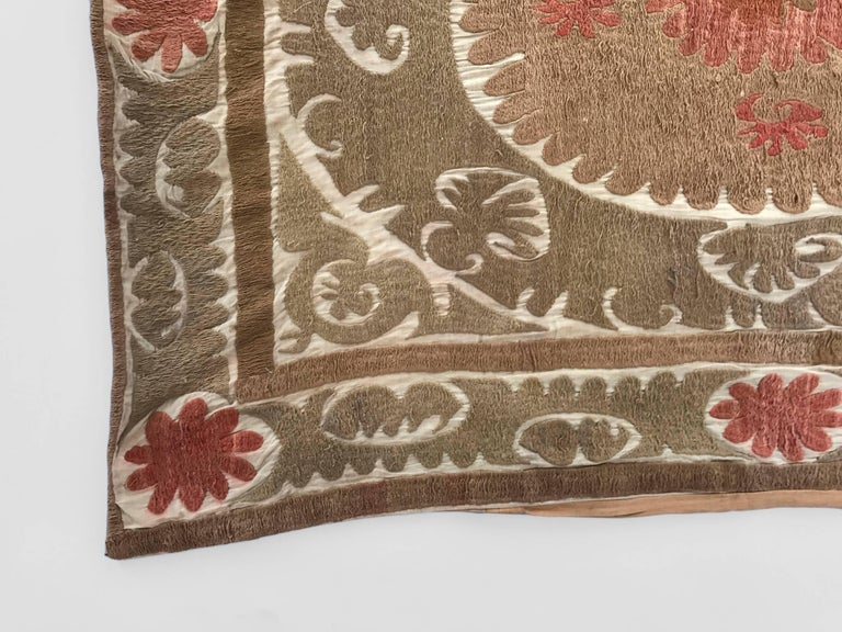 Oversized Vintage Suzani Embroidered Floor or Pet Pillow For Sale at 1stdibs