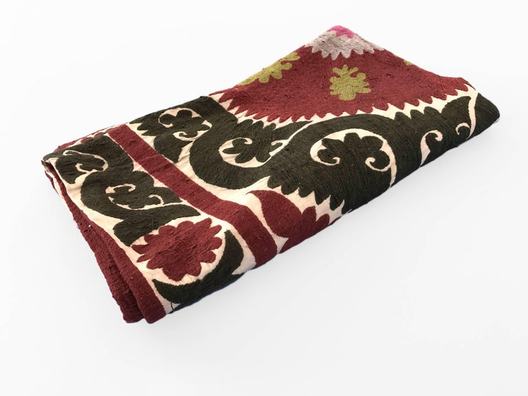 Oversized Vintage Suzani Silk Embroidered Floor or Pet Pillow For Sale at 1stdibs