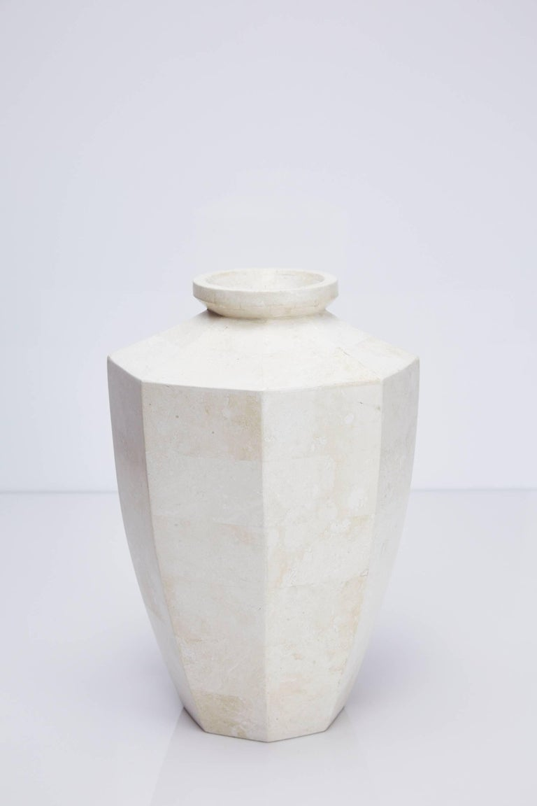 Tall Octagonal Flower Vase In White Tessellated Stone At 1stdibs