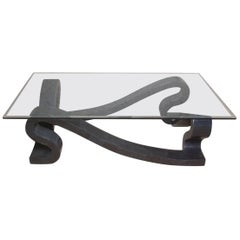 """""""Ribbon"""" Rectangular Cocktail or Coffee Table in Tessellated Black Stone"""