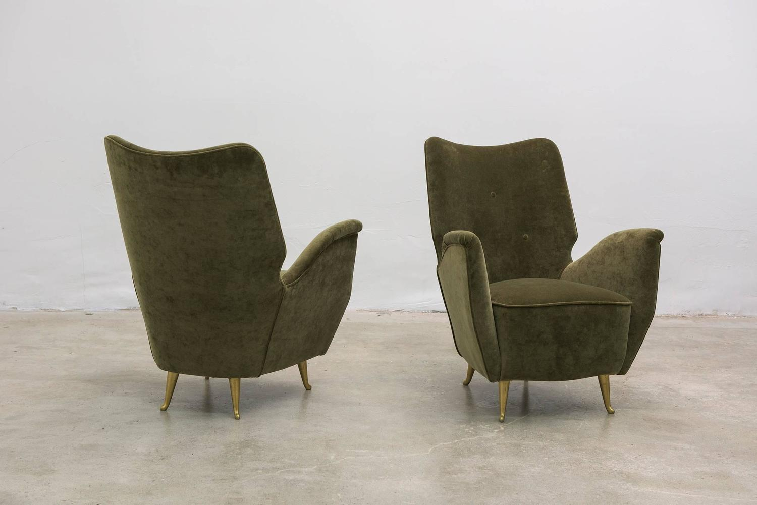 Pair of italian salon armchairs by isa 1940s for sale at for Isa arredamenti