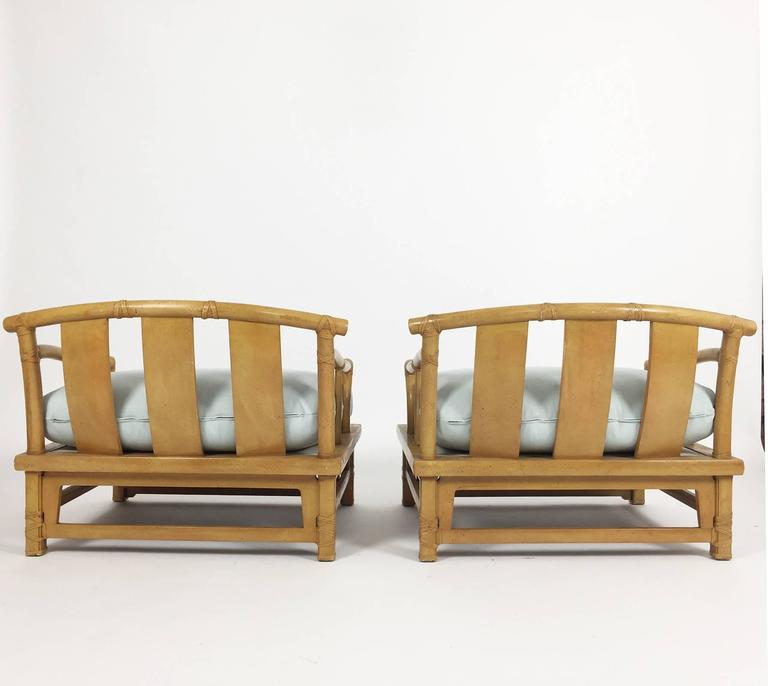 Pair Of Yoke Back 39 Bamboo 39 Lounge Chairs And Ottoman By