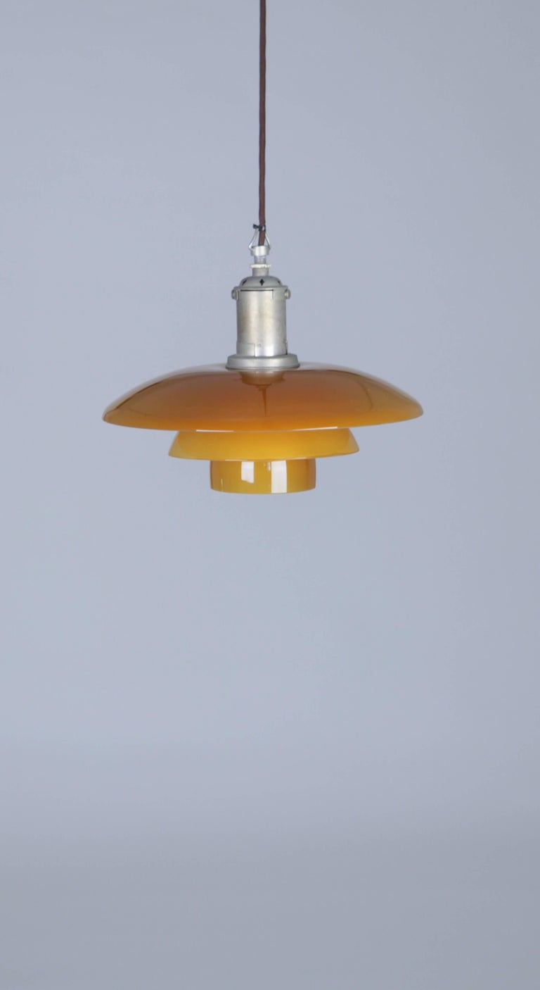 Metal Poul Henninsen, 3 1/2 /3 Amber Colored Glass Pendent Ceiling Light, 1927 For Sale