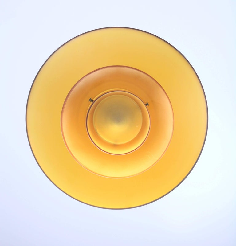 Scandinavian Modern Poul Henninsen, 3 1/2 /3 Amber Colored Glass Pendent Ceiling Light, 1927 For Sale