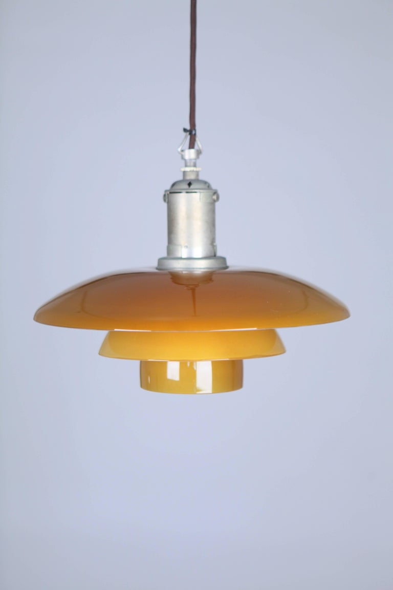 Danish Poul Henninsen, 3 1/2 /3 Amber Colored Glass Pendent Ceiling Light, 1927 For Sale
