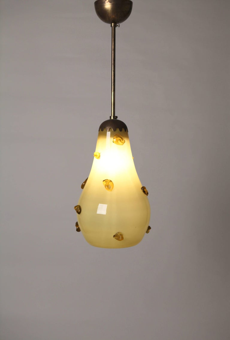 Scandinavian Modern Yellow Cased Glass Ceiling Light in the Style of Paavo Tynell, Finland For Sale