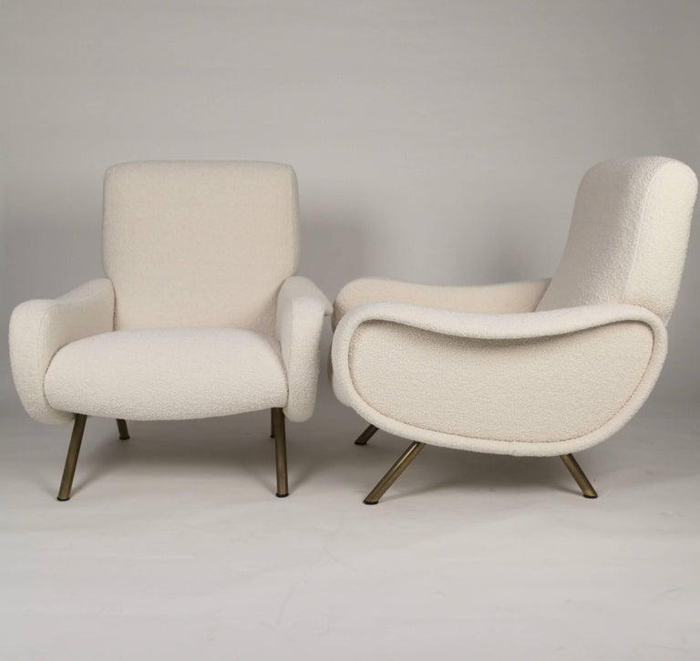 Brass Marco Zanuso 'Lady' Chairs, Early Arflex Edition, circa 1951 For Sale