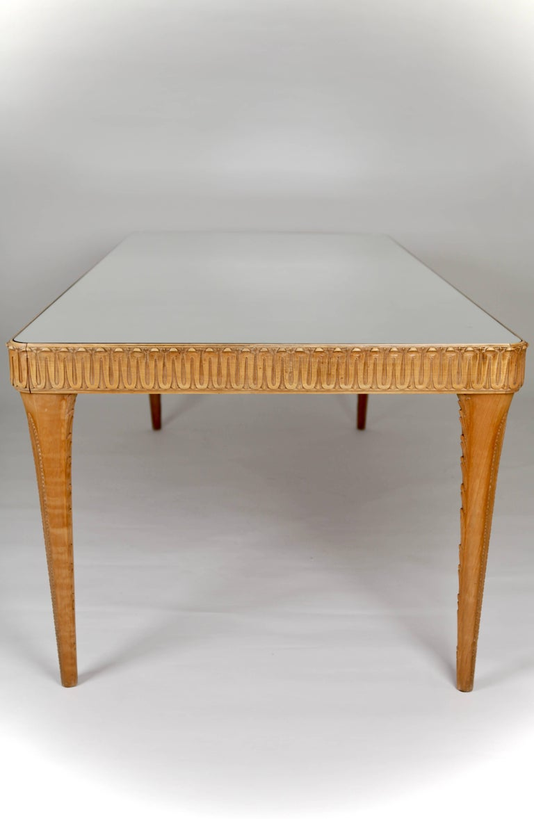 Mid-Century Modern Elegant Italian Carved Beech Dining Table, 1940s For Sale