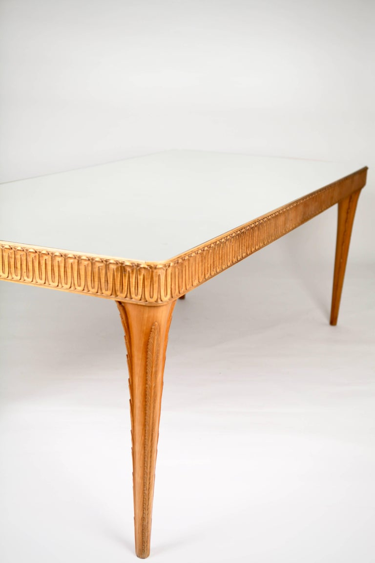 Stained Elegant Italian Carved Beech Dining Table, 1940s For Sale