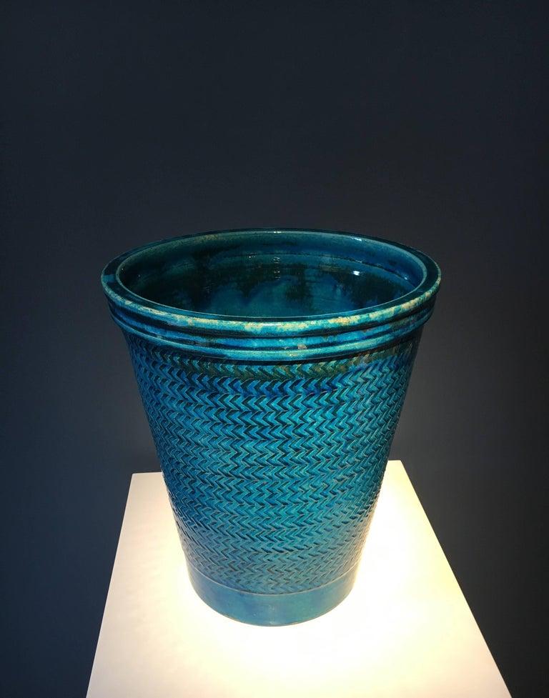 Scandinavian Modern Nils Kähler Blue Glazed Stoneware Vase For Sale