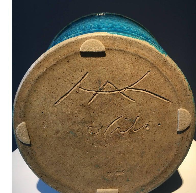 Danish Nils Kähler Blue Glazed Stoneware Vase For Sale