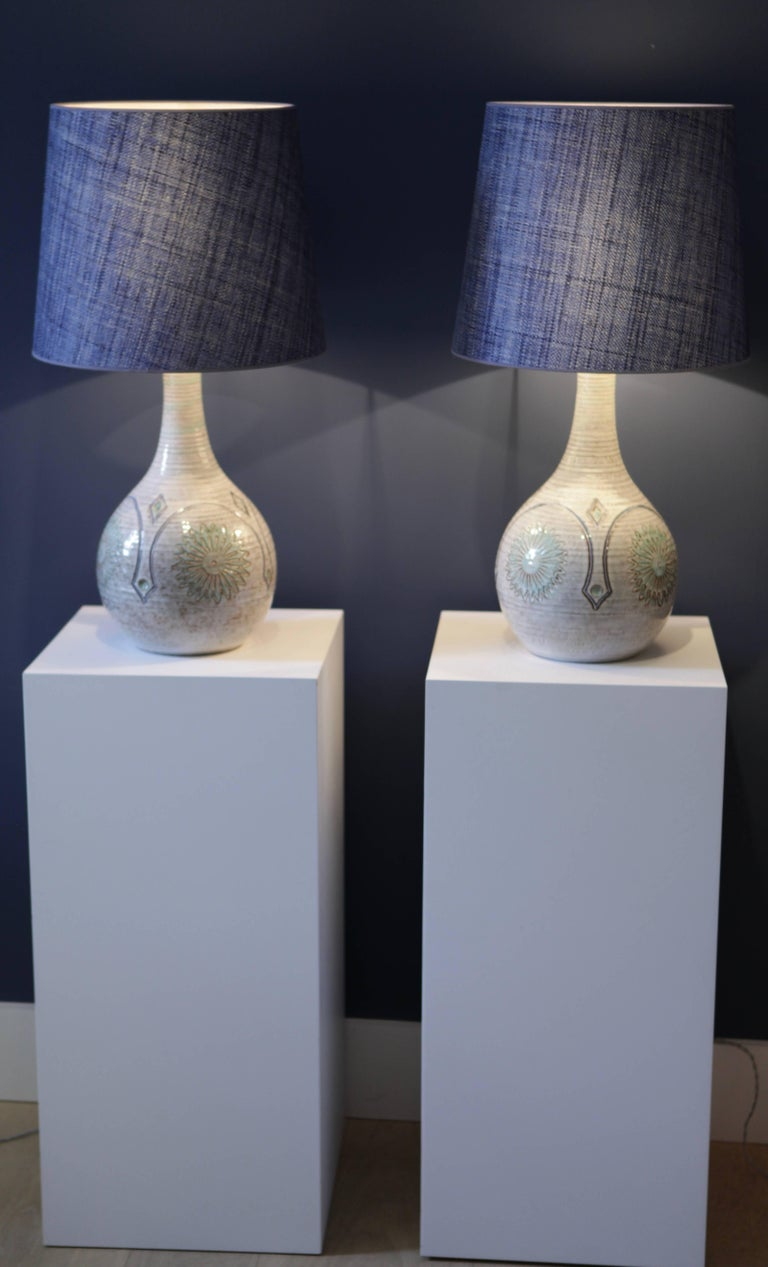Glazed Pair of Large Danish Stoneware Table Lamps with Denim Blue Raffia Shades, 1960 For Sale