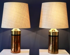 Pair of Metallic Glazed Ceramic Table Lamps by Bitossi for Bergboms