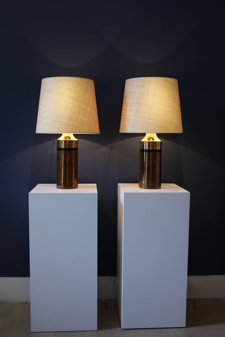 Pair of Metallic Glazed Ceramic Table Lamps by Bitossi for Bergboms In Excellent Condition For Sale In Hamburg, Hamburg