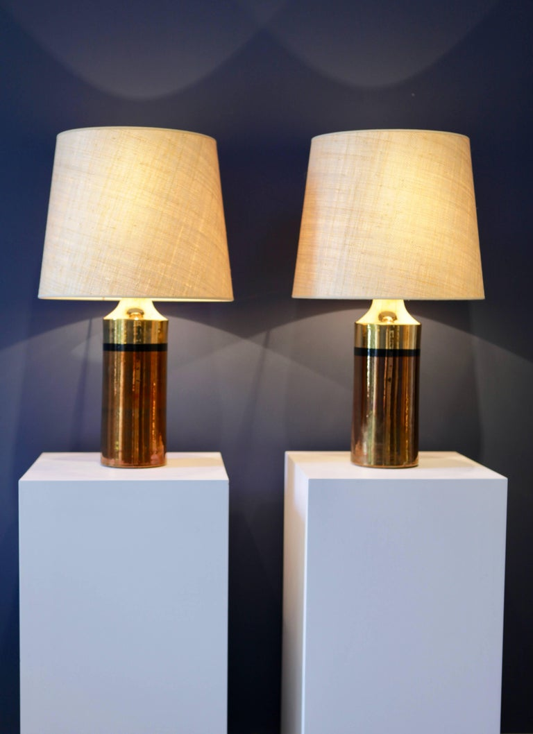Scandinavian Modern Pair of Metallic Glazed Ceramic Table Lamps by Bitossi for Bergboms For Sale
