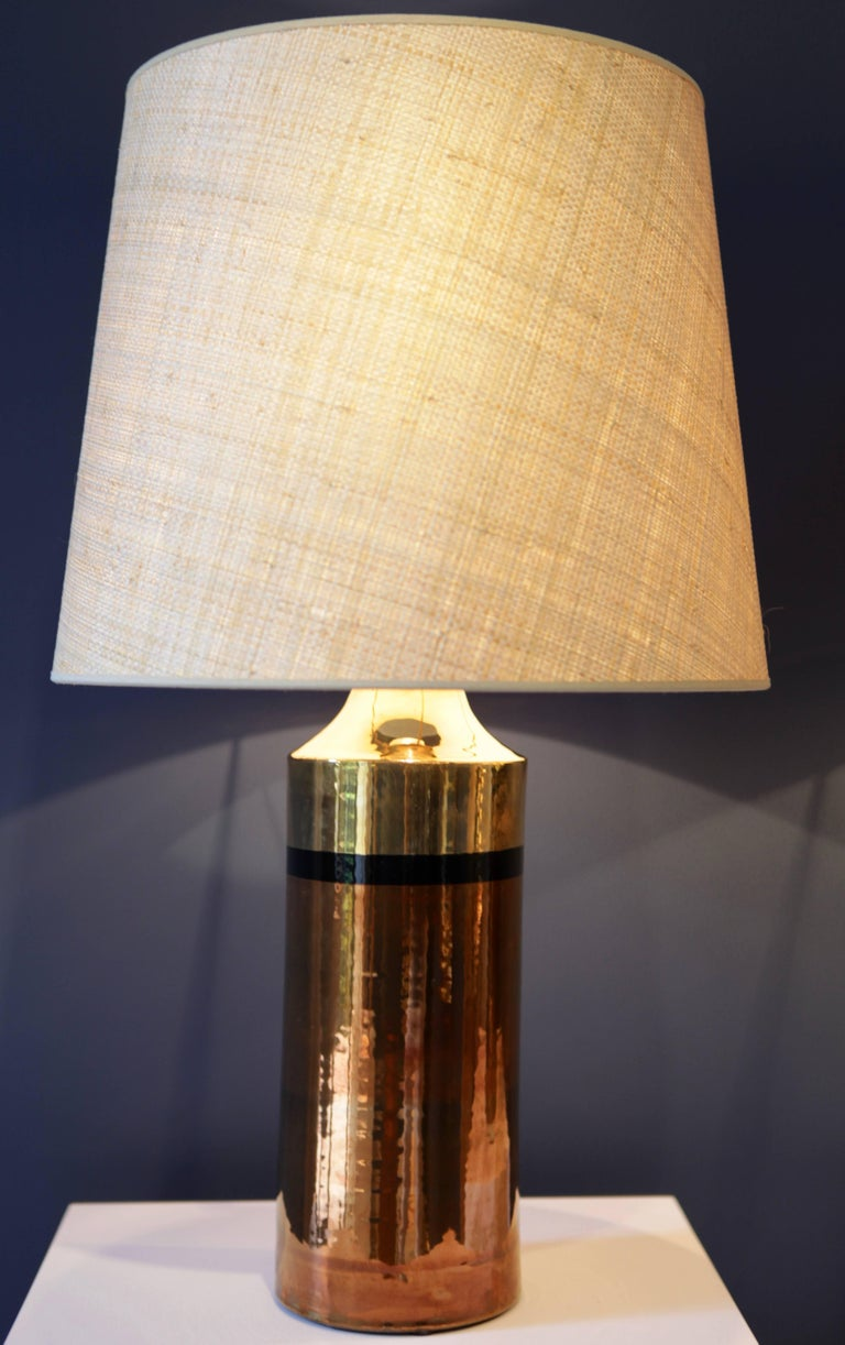 Late 20th Century Pair of Metallic Glazed Ceramic Table Lamps by Bitossi for Bergboms For Sale