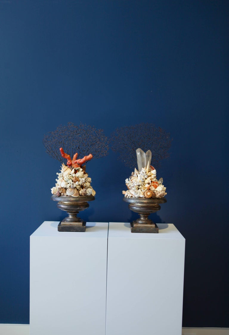 Italian Pair of Decorative Coral Rock Crystal and Sea Shell Installations, Italy 1970s For Sale
