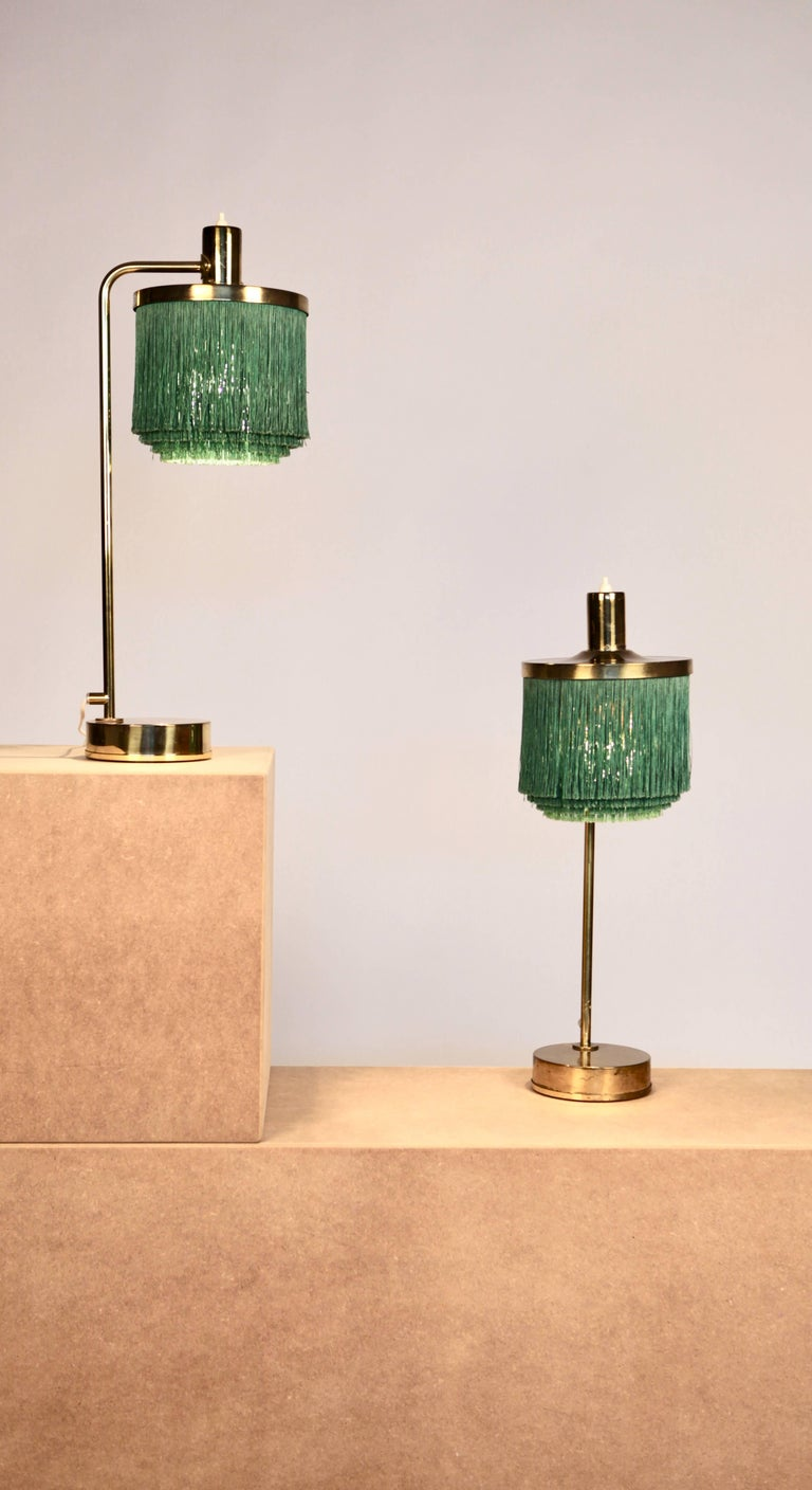 Mid-20th Century Hans-Agne Jakobsson Brass and Bottle Green Silk Table Lamps Model B-140, 1960 For Sale