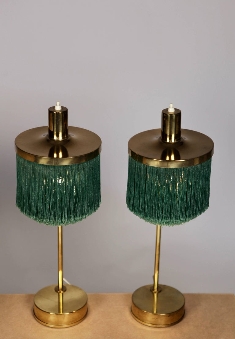 Hans-Agne Jakobsson Brass and Bottle Green Silk Table Lamps Model B-140, 1960 In Excellent Condition For Sale In Hamburg, Hamburg