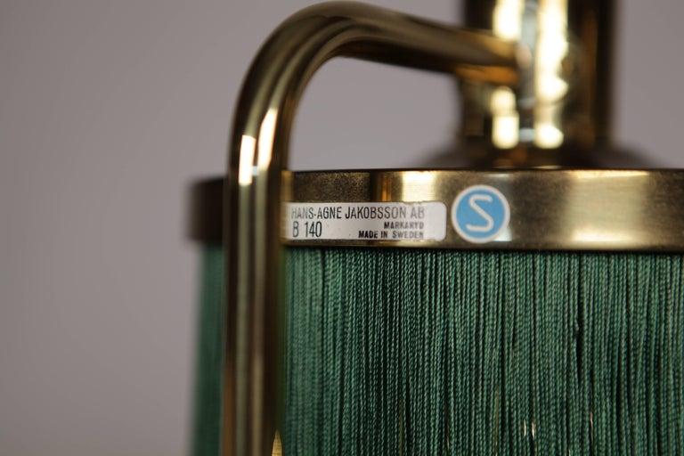 Hans-Agne Jakobsson Brass and Bottle Green Silk Table Lamps Model B-140, 1960 For Sale 2