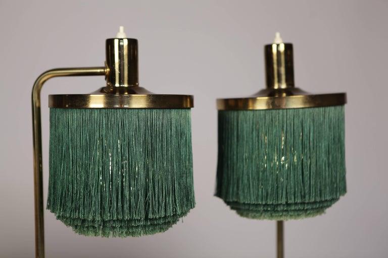 Swedish Hans-Agne Jakobsson Brass and Bottle Green Silk Table Lamps Model B-140, 1960 For Sale