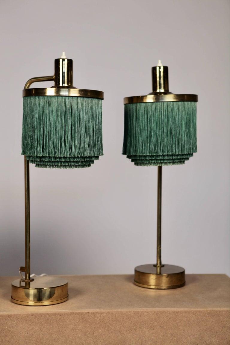 Scandinavian Modern Hans-Agne Jakobsson Brass and Bottle Green Silk Table Lamps Model B-140, 1960 For Sale