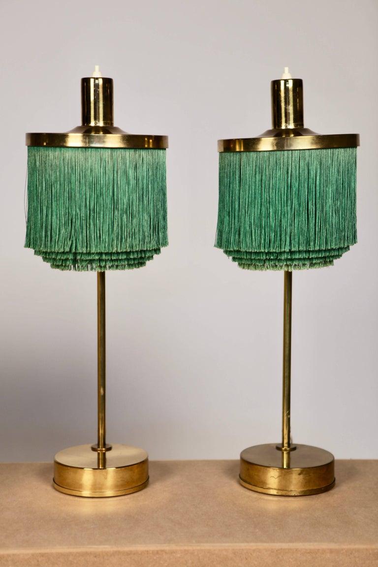 Hans-Agne Jakobsson Brass and Bottle Green Silk Table Lamps Model B-140, 1960 For Sale 3
