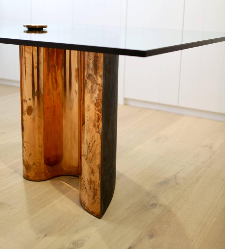 Modern Unique Table, Brass Copper-Plated, Colorless Glass For Sale