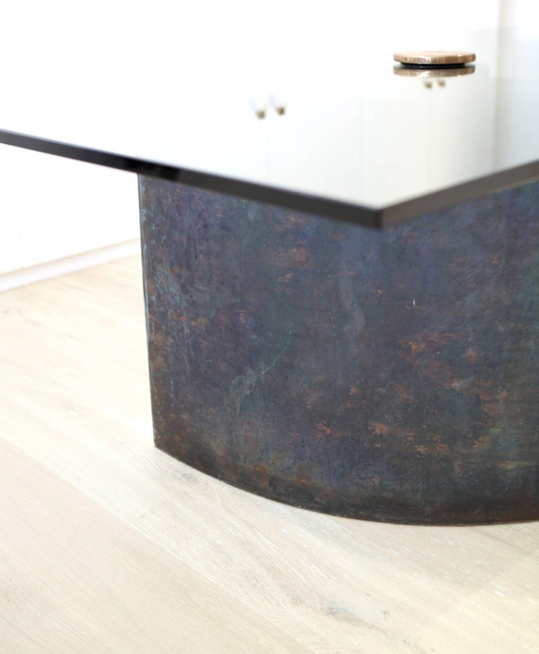 German Unique Table, Brass Copper-Plated, Colorless Glass For Sale